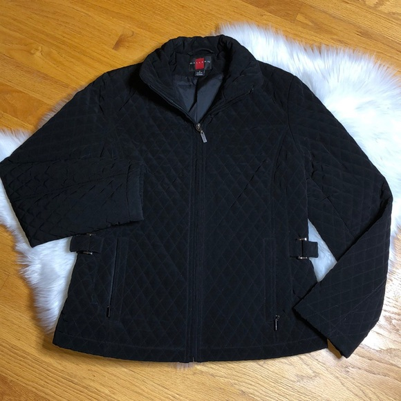Gallery Jackets & Blazers - Gallery black quilted zip front jacket small